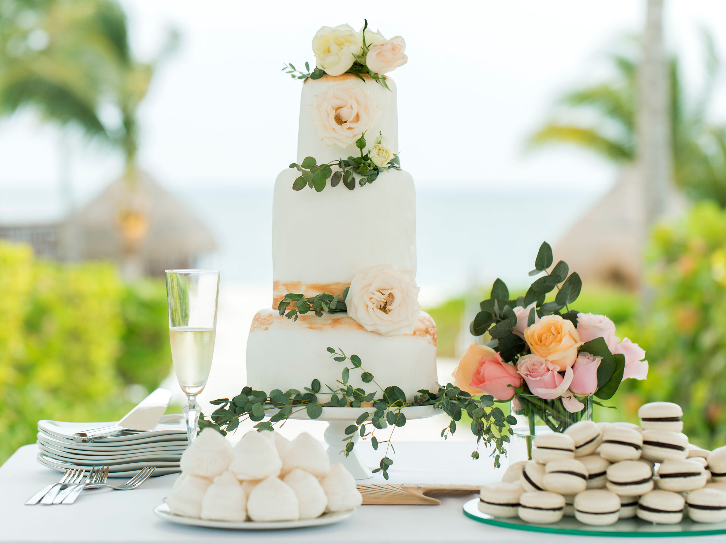 Riviera Maya Wedding Cake on the Beach